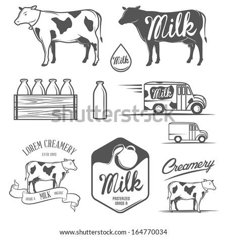 Set of milk and creamery labels, emblems and design elements - stock vector