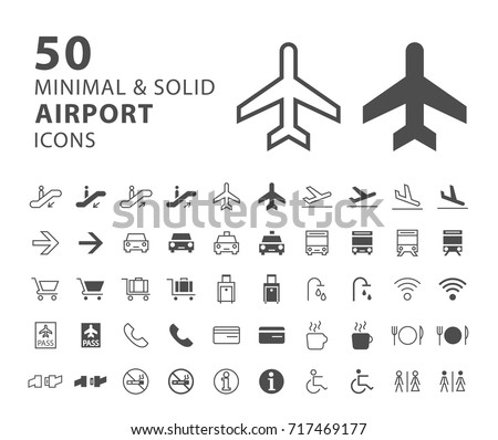 Set of 50 Minimal and Solid Airport Icons on White Background . Vector Isolated Elements