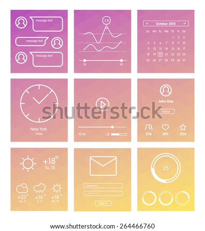 Set of minimal design UI and UX elements for website and mobile app design. Mobile widgets collection. Weather, multimedia, player, message, calendar, clock interfaces. - stock vector