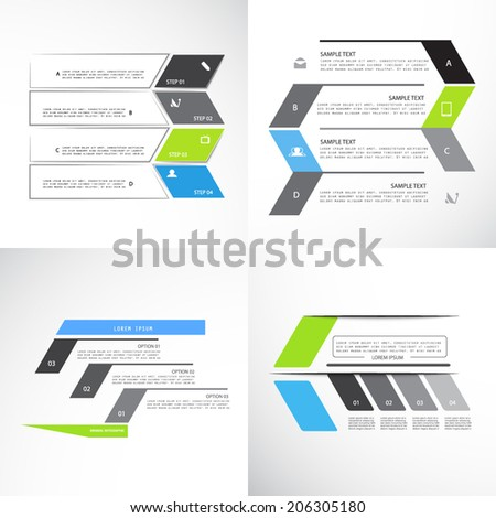 Set of minimal infographic templates - stock vector