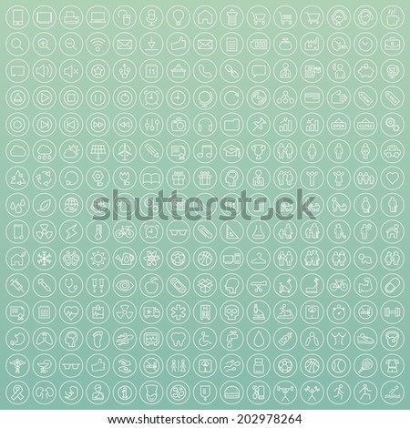 Set of 225 Minimal Modern White Thin Stroke Icons (Multimedia, Business, Ecology, Education, Family, Medical, Fitness) on Circular Buttons on Colored Background. - stock vector