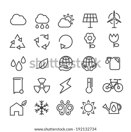 Set of Minimal Simple Ecology Thin Line Icons on White Background. - stock vector