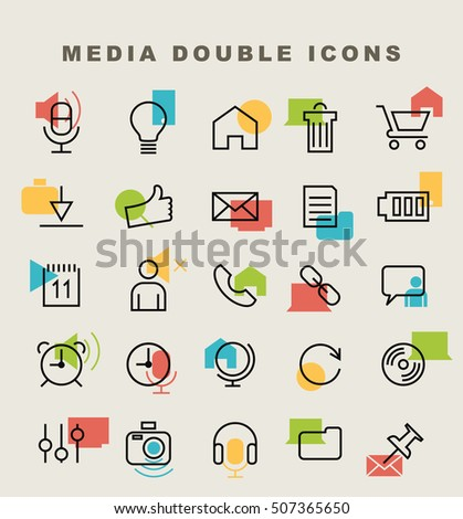 Set of 25 Minimal Simple Multimedia and Interface Double Thin Line Icons.