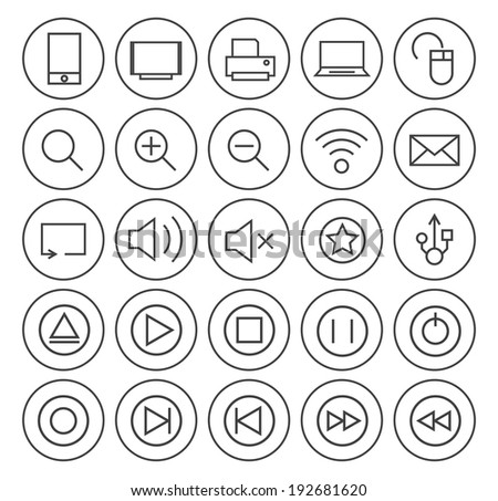 Set of Minimal Simple Multimedia Thin White Line Icons on Minimal Circular Buttons. - stock vector