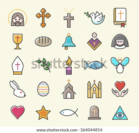 Set of 25 Minimal Solid Thin Line Colored Christian Icons. Isolated Vector Elements. - stock vector
