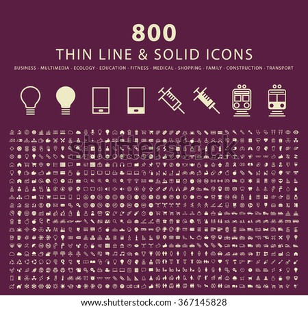 Set of 800 Minimal Thin Line and Solid Icons ( Multimedia, Business , Ecology , Education , Fitness , Medical , Family , Shopping , Transport and Constrction ) . Vector Isolated Elements. - stock vector