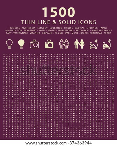 Set of 1500 Minimal Thin Line and Solid Universal Icons. Isolated Vector Icons. - stock vector