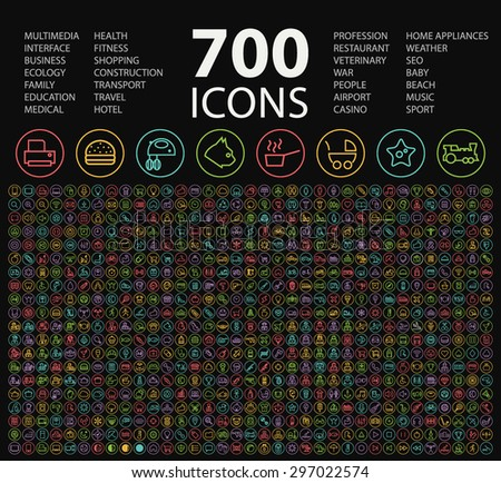 Set of 700 Minimal Universal Isolated Modern Elegant Neon Color Thin Line Icons on Circular Buttons on Black Background. - stock vector