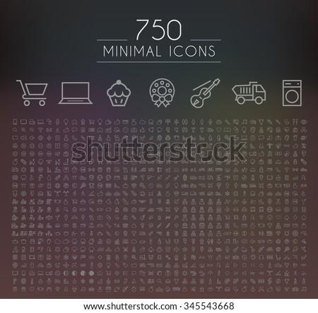 Set of 750 Minimal Universal Isolated Modern Elegant Thin Line Icons on Black Background. - stock vector