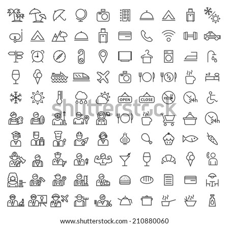 Set of 100 Minimal Universal Modern Elegant Black Stroke Icons ( Travel , Hotel , Professions and Restaurant ) on White Background. - stock vector