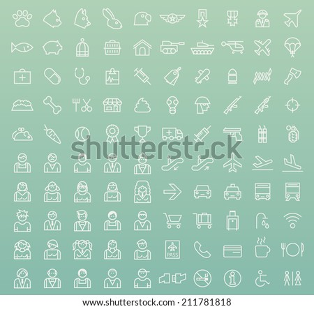Set of 100 Minimal Universal Modern Elegant Black Thin Line Icons ( Veterinary , War , People and Airport ) on Color Background.