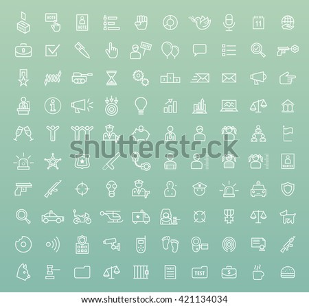 Set of 100 Minimal Universal Modern Elegant White Thin Line Icons ( Politics and Police ) on Color Background.