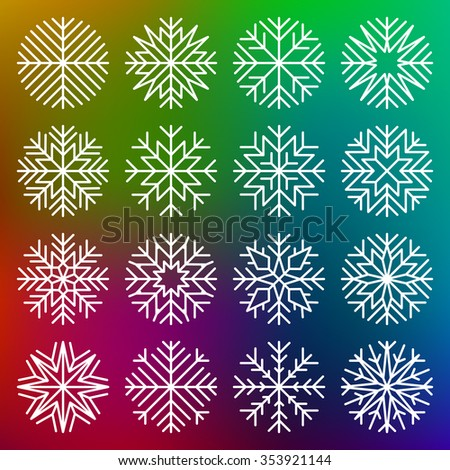 set of minimalist snowflakes on multicolor background - stock vector