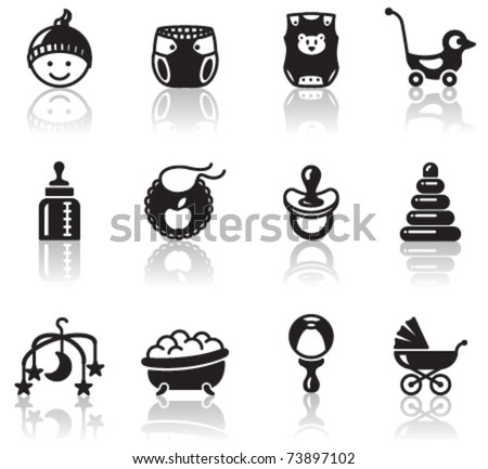 Set of minimalistic baby icons - stock vector