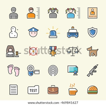 Set of 25 Minimalistic Solid Colored Police Icons. Isolated Vector Elements.