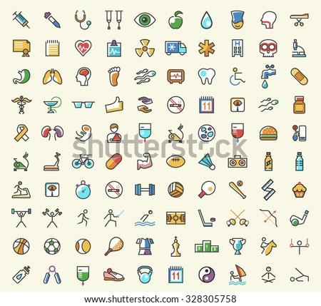 Set of 100 Minimalistic Solid Line Coloured Medical , Fitness and Sport Icons. Isolated Vector Elements. - stock vector