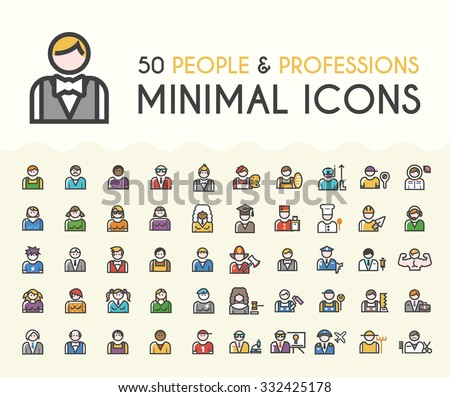 Set of 50 Minimalistic Solid Line Coloured People and Professions Icons. Isolated Vector Elements. - stock vector