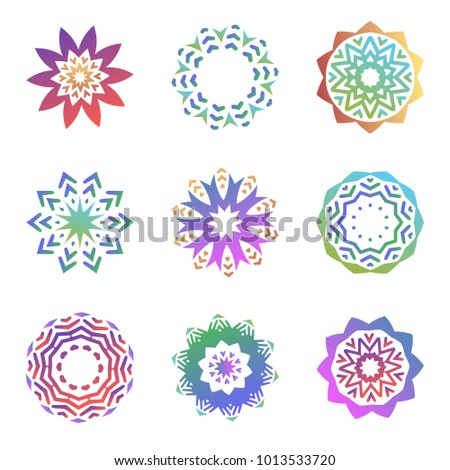 Set of minimalistic trendy shapes. Creative logo emblems for design. Simple geometric mandala symbols collection. Colorful icons isolated vector illustration