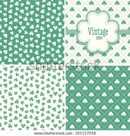 Set of mint green backgrounds with shamrock or clover leaf patterns for St Patrick's Day. Blank greeting card template with 4 leaf clover shaped text frame. - stock vector