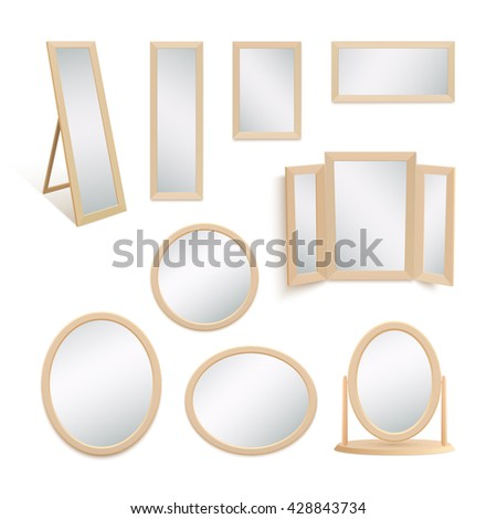 Set of mirrors isolated on white background. Vector illustration. - stock vector