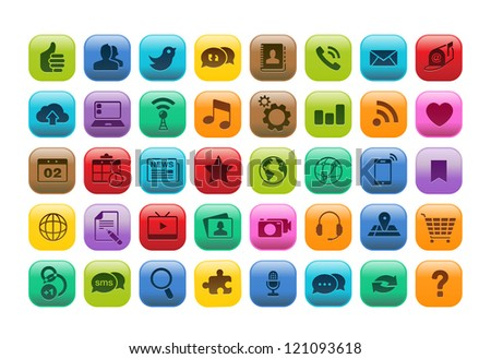 Set of 50 mobile app buttons icons. - stock vector