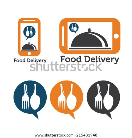 set of mobile food delivery icons - stock vector