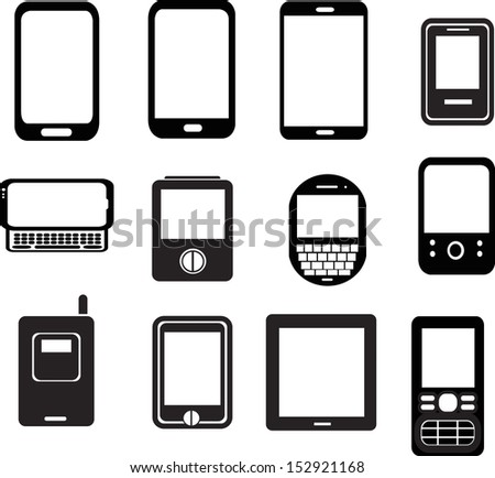 set of mobile phone icons - stock vector