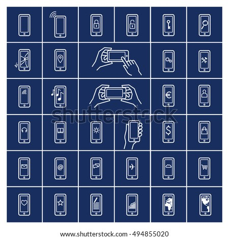 Set of mobile pictograms