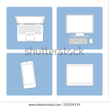 Set of mobile tech devices ob blue background. Laptop, computer, mobile phone, tablet. Flat illustration. - stock vector
