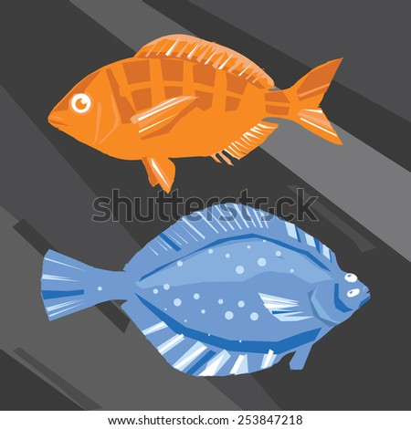 set of modern abstract colored fish illustration - stock vector