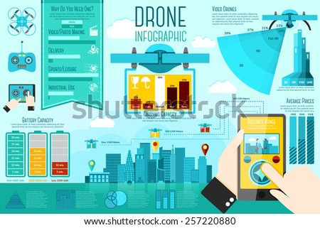 Set of modern air drones Infographic elements with icons, different charts, rates etc. With places for your text. Vector - stock vector