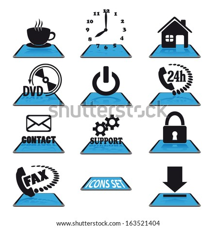 Set of modern blue vector icons - stock vector