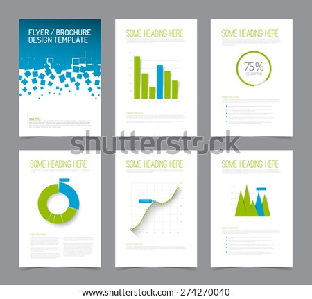 Set of modern brochure flyer design templates with graphs, charts and other infographic elements - blue and green version - stock vector
