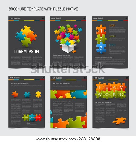 Set of modern brochure flyer design templates with puzzle elements - dark gray version - stock vector