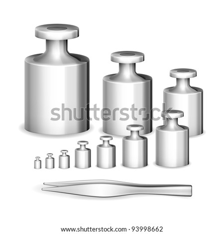 Set of modern calibration weights with tweezers vector