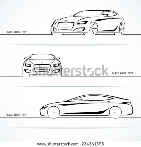 Set of modern car silhouettes. Vector illustration - stock vector