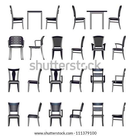 Set of modern chair isolated on white, vector  - stock vector