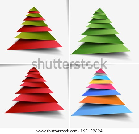 Set of Modern Christmas Tree Background - stock vector