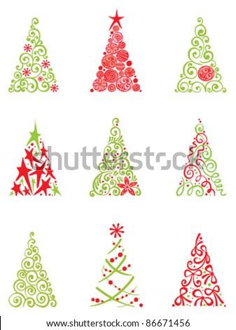 set of modern christmas trees - Modern Christmas Tree