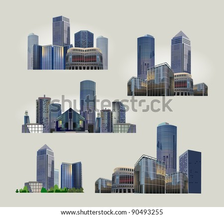 set of modern city views - stock vector