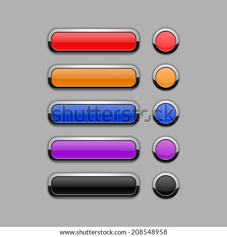 Set of modern colorful blank web buttons for website or app. Isolated on grey background. Vector illustration, eps 10.
