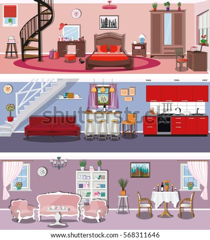 Set Of Modern Colorful Vector Interior Design House Rooms With Furniture