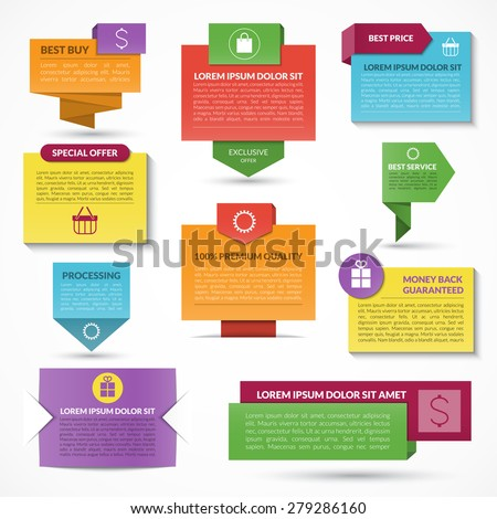 Set of modern colorful vector web elements. Labels, tags, banners. Origami style - stock vector