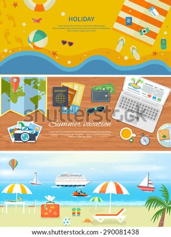 Set of modern concepts in detailed web banner. Traveling, summer vacation, journey. Items for beach holidays in flat design. Relaxing holiday by the sea. For web construction, mobile applications - stock vector
