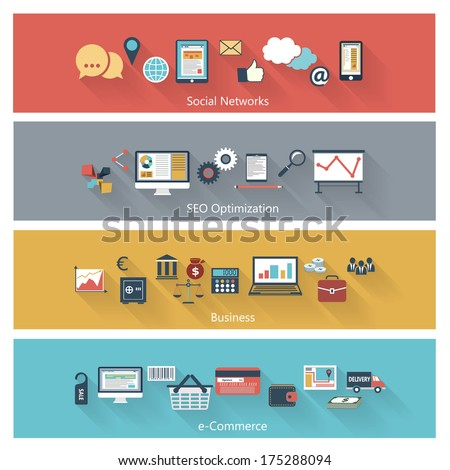 Set of modern concepts in flat design with long shadows and trendy colors for web, mobile applications, seo optimizations, business, social networks, e-commerce etc. Vector eps10 illustration - stock vector