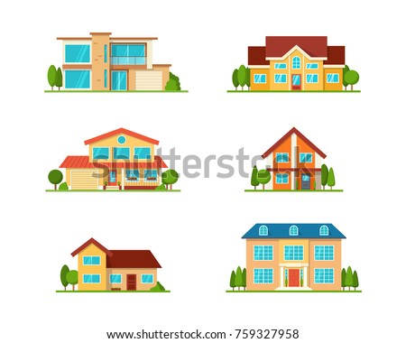 Set of Modern cottage house, front view, isolated on white. Real Estate. Flat Style American or Sweden Townhouse. Vector Illustration.