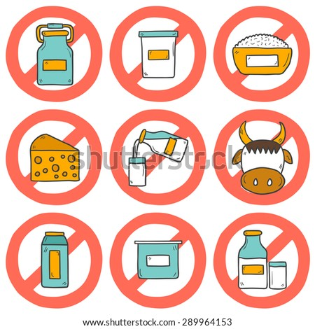"Set of modern cute cartoon hand drawn icons with products containing lactose: milk bottle, glass, cheese, cottage, cream, yogurt, cow. Lactose intolerance concept with sign ""Prohibited""."