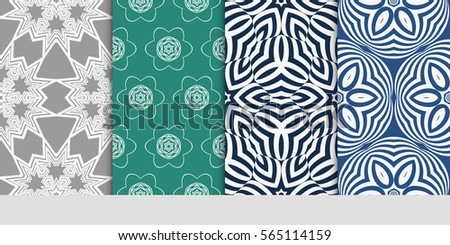 Set Of Modern Decorative Floral Pattern Template Luxury Texture For Wallpaper Invitation