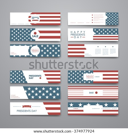 Set of modern design banner template in Presidents Day style - stock vector
