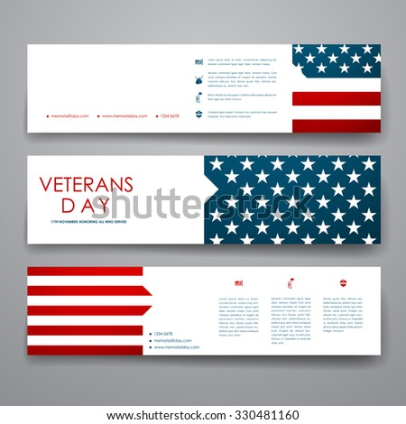 Set of modern design banner template in veterans day style. Beautiful design and layout - stock vector